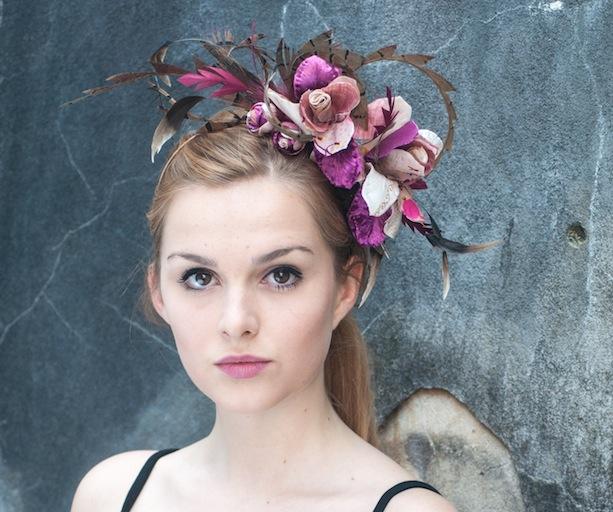 Pink headpiece by Lomax & Skinner. Image by Katie Van Dyck