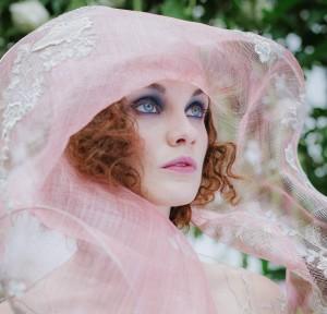 Pink sculptural bridal headpiece