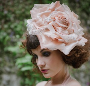Bridal millinery peach rose with diamante spider